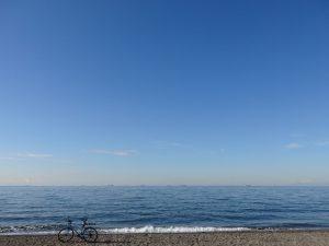 blue sky & sea & bike