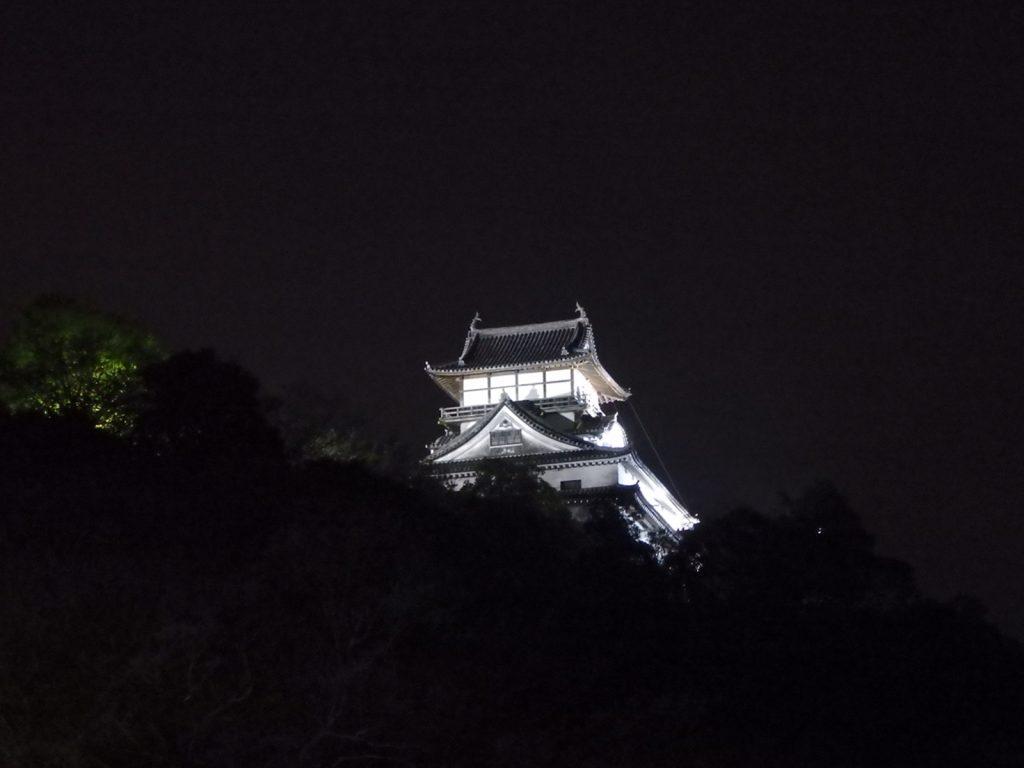 ライトアップされた犬山城